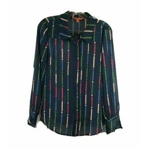 NEW Modcloth Blue Multi Color Sheer Blouse Top M
